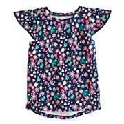 Toddler Girl Jumping Beans® Pom Trim Printed Flutter Tee
