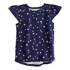 Toddler Girl Jumping Beans® Pom Trim Printed Flutter Tee