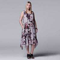 Plus Size Simply Vera Vera Wang Printed Handkerchief Tank Dress