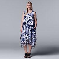 Plus Size Simply Vera Vera Wang Printed Handkerchief Tank Dress