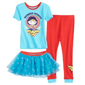 Toddler Girl DC Comics Wonder Woman Top, Pants & Tutu Pajama Set
