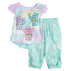 Toddler Girl Care Bears Cheer Bear, Share Bear & Wish Bear Top & Bottoms Pajama Set