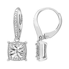 Stella Grace Sterling Silver 1/5 Carat T.W. Diamond Square Drop Leverback Earrings