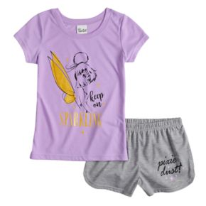 "Disney's Tinkerbell ""Keep On Sparkling"" Top & Shorts Pajama Set"
