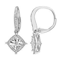 Stella Grace Sterling Silver 1/5 Carat T.W. Diamond Leverback Earrings