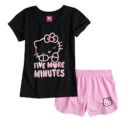 Girls 4-10 Hello Kitty® '5 More Minutes' Top & Shorts Pajama Set