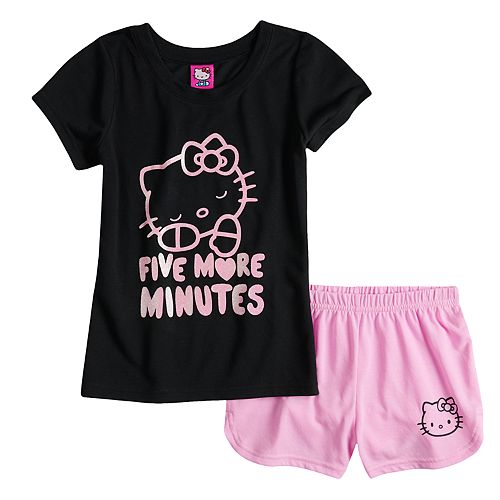 "Girls 4-10 Hello Kitty® ""5 More Minutes"" Top & Shorts Pajama Set"