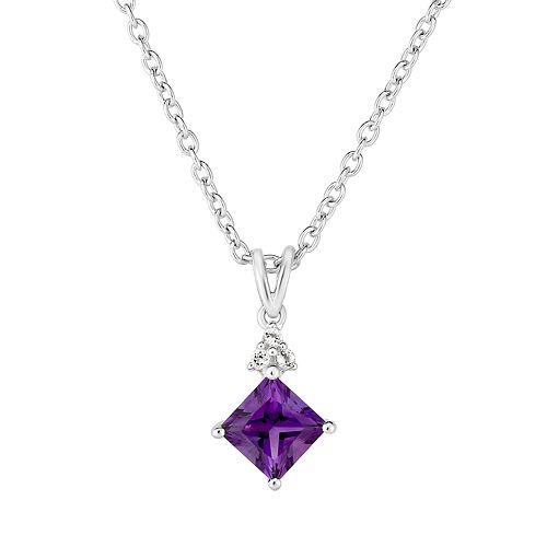 Sterling Silver Amethyst & White Topaz Pendant Necklace