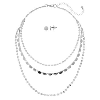 Disc & Semi-Circle Nickel Free Swag Necklace & Disc Stud Earring Set