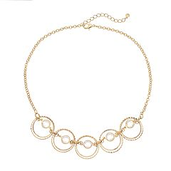 Textured Circle Link Statement Necklace