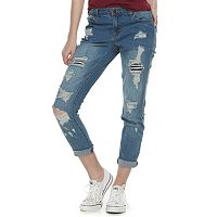Juniors' Almost Famous Destructed Rolled Jeans
