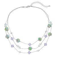 Sequin Bead Multistrand Illusion Necklace