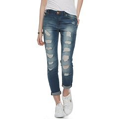 Juniors' Almost Famous Rolled Skinny Ankle Jeans