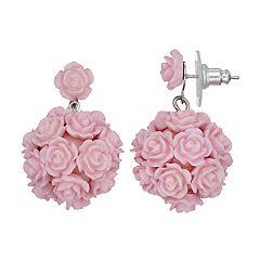 Pink Rose Cluster Drop Earrings