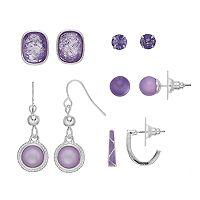 Purple Nickel Free Stud, Hoop & Drop Earring Set