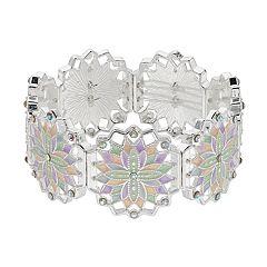 Oval Crystal & Glass Stretch Bracelet