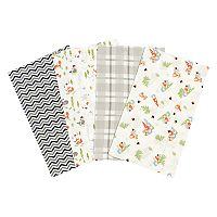 Trend Lab Woodsy Gnomes 4-Pack Flannel Burp Cloths