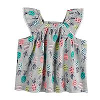 Baby Girl Jumping Beans® Pineapple Print Flutter Sleeve Top