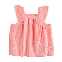 Baby Girl Jumping Beans® Embroidered Slubbed Flutter Sleeve Top