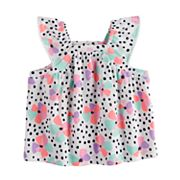 Baby Girl Jumping Beans® Flower & Dot Flutter Sleeve Top