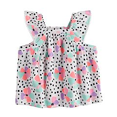 Baby Girl Jumping Beans® Flower & Dot Flutter Sleeve Top