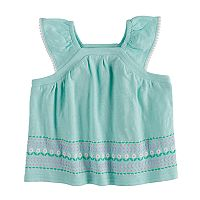 Baby Girl Jumping Beans® Puff-Print Flutter Sleeve Top