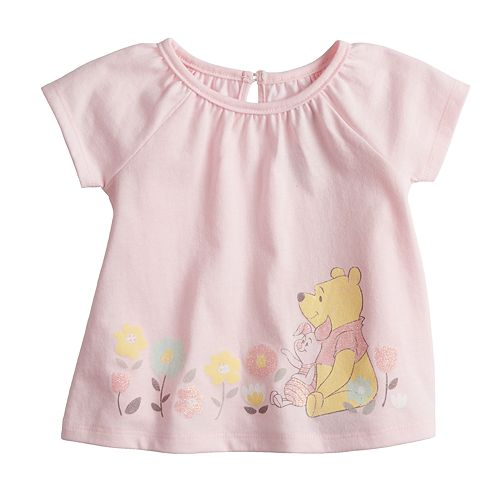 640be072 Disney's Winnie the Pooh & Piglet Baby Girl Glittery Graphic Tee by ...
