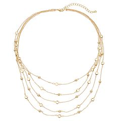 Bead & Circle Link Multistrand Necklace