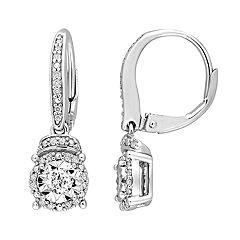 Stella Grace Sterling Silver 1/3 Carat T.W. Diamond Round Drop Leverback Earrings