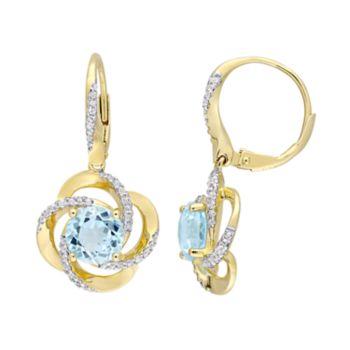 Stella Grace Gold Tone Sterling Silver Blue & White Topaz Leverback Earrings