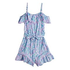 Disney Princess Girls 7-16 Ruffled Cold Shoulder Romper
