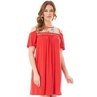 Women's Apt. 9® Cold-Shoulder Embroidered Swing Dress