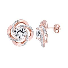 Stella Grace Rose Gold Tone Sterling Silver White Topaz Leverback Earrings
