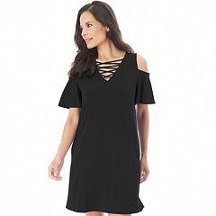 Women's Apt. 9® Crisscross Cold-Shoulder Swing Dress