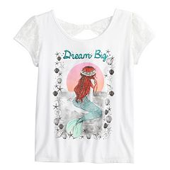 Disney Princess Girls 7-16 Lace Sleeve Bow Back 'Dream Big' Graphic Tee