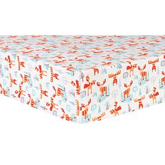 Trend Lab Winter Moose Deluxe Flannel Fitted Crib Sheet