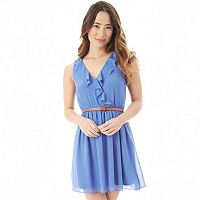 Juniors' IZ Byer Ruffle Chiffon Skater Dress