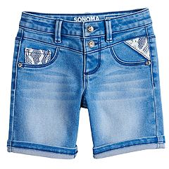Girls 4-12 SONOMA Goods for Life™ Double-Button Stretchy Denim Bermuda Shorts