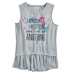 Disney Princess Girls 7-16 Lace 'I Am Smart' High-Low Yoryu Ruffled Tank Top