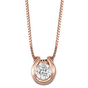 Sirena Collection 14k Rose Gold Diamond Accent Horseshoe Pendant Necklace