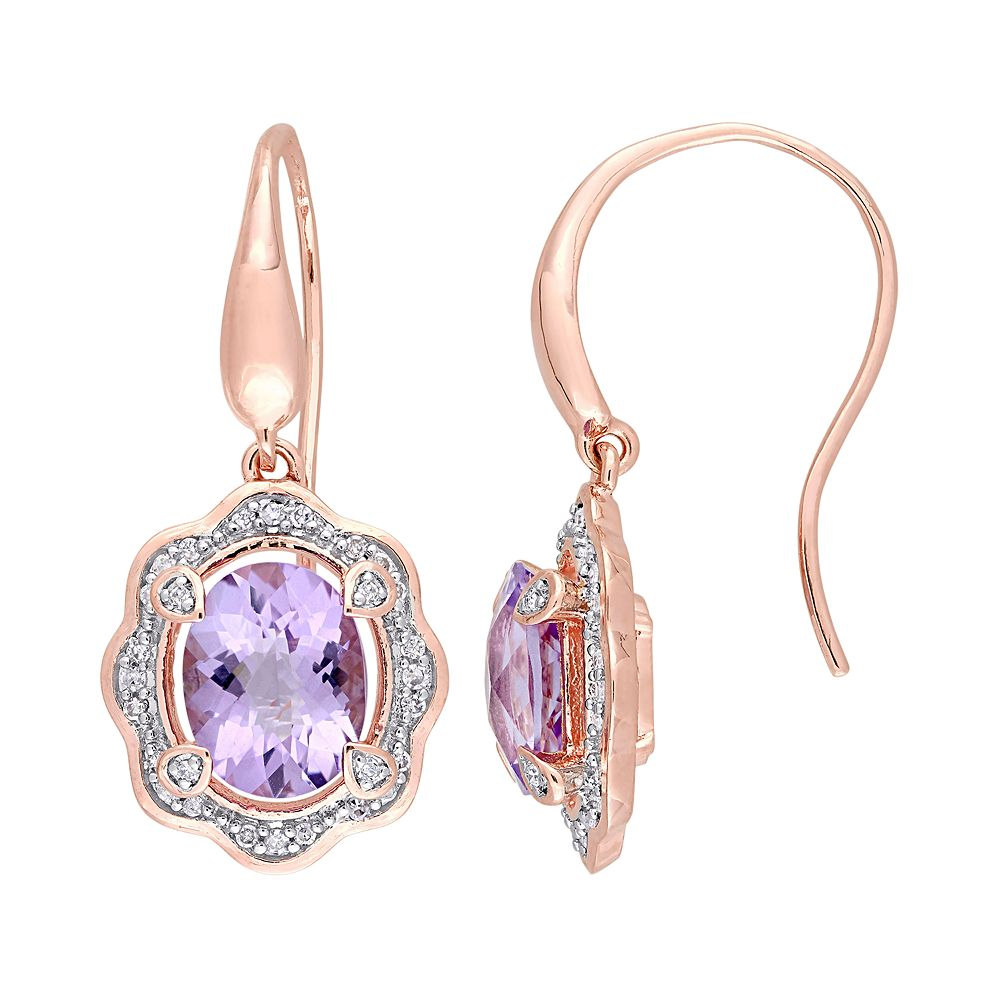 Stella Grace Rose Gold Tone Sterling Silver 1/5 Carat T.W. Diamond & Amethyst Drop Earrings