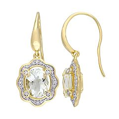 Stella Grace Gold Tone Sterling Silver 1/5 Carat T.W. Diamond & Amethyst Drop Earrings
