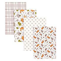 Trend Lab 4 pkWild Bunch Flannel Swaddle Blankets
