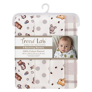 Trend Lab 4-pk. Wild Bunch Flannel Swaddle Blankets