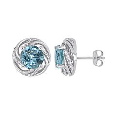 Stella Grace Sterling Silver Blue & White Topaz Swirl Stud Earrings