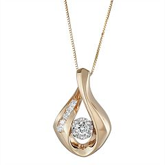 Sirena Collection 10k Two-Tone Gold 1/4 Carat T.W. Diamond Teardrop Pendant