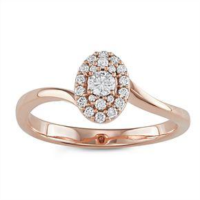 10k Rose Gold 1/4 Carat T.W. Diamond Oval Cluster Ring
