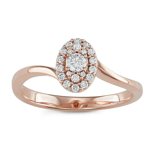 10k Rose Gold 1/4 Carat T.W. Diamond Oval Cluster Ring