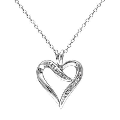 Stella Grace Sterling Silver Diamond Accent Open Heart Pendant Necklace