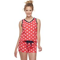Juniors' SO® Contrasting Tank & Shorts Pajama Set